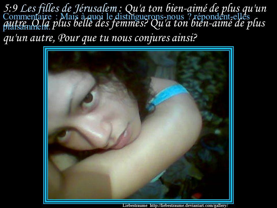 5:8 Sulammith : Je vous en conjure, filles de Jérusalem, Si vous trouvez mon bien-aimé, Que lui direz-vous?... Que je suis malade d'amour. Commentaire