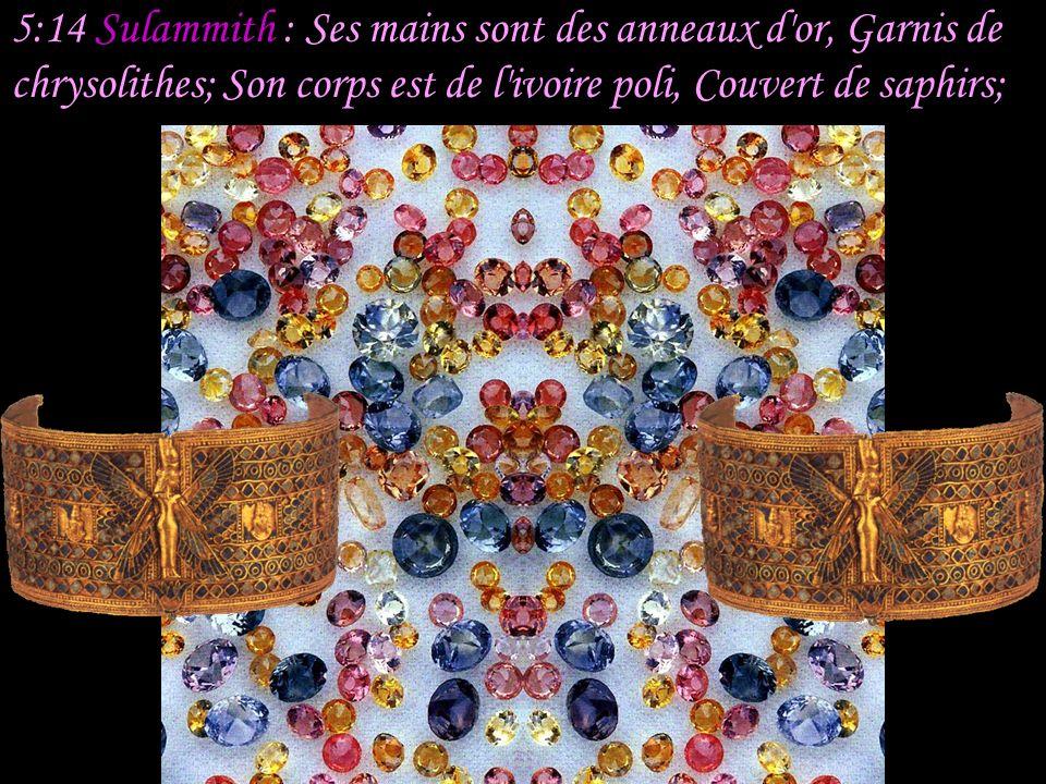 5:13 Sulammith : Ses joues sont comme un parterre d aromates, Une couche de plantes odorantes; Ses lèvres sont des lis, D où découle la myrrhe.