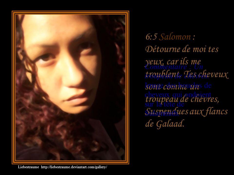 6:4 Salomon : Tu es belle, mon amie, comme Thirtsa, Agréable comme Jérusalem, Mais terrible comme des troupes sous leurs bannières. Commentaire : Salo