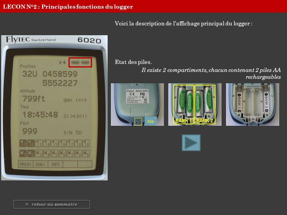 Voici la description de laffichage principal du logger : Etat des piles. Il existe 2 compartiments, chacun contenant 2 piles AA rechargeables vis LECO