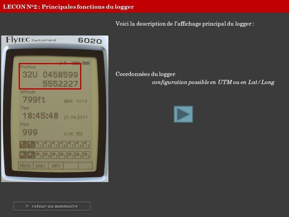 Voici la description de laffichage principal du logger : Coordonnées du logger configuration possible en UTM ou en Lat/Long LECON N°2 : Principales fo