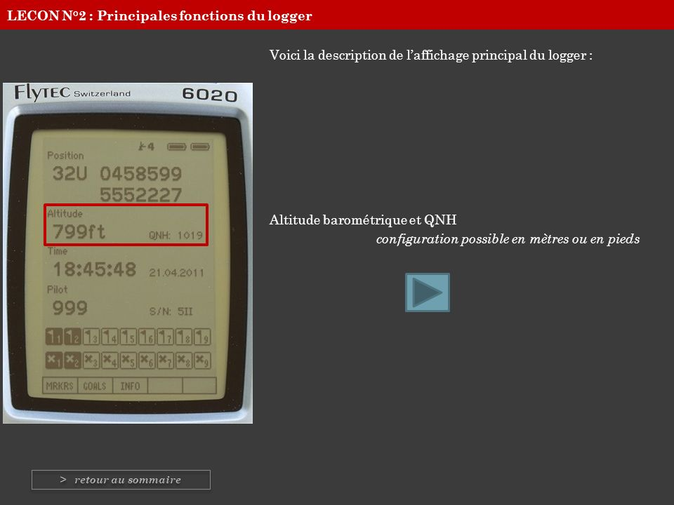 Voici la description de laffichage principal du logger : Heure et Date configuration possible en heure locale ou GMT LECON N°2 : Principales fonctions du logger > retour au sommaire