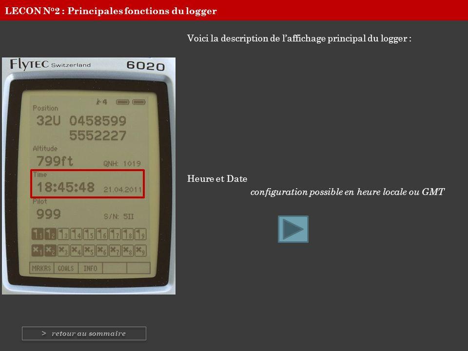 Voici la description de laffichage principal du logger : Heure et Date configuration possible en heure locale ou GMT LECON N°2 : Principales fonctions
