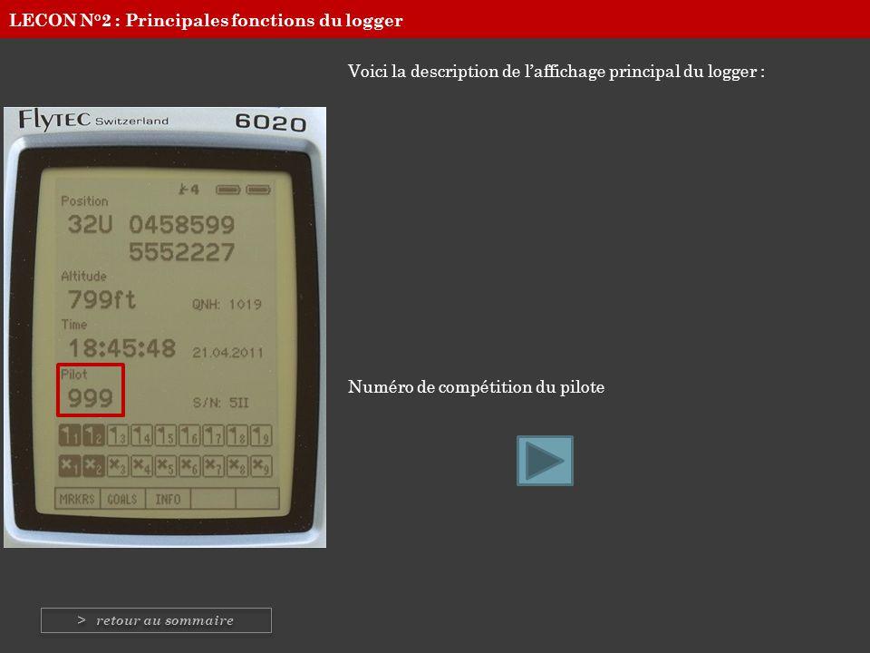 Voici la description de laffichage principal du logger : Numéro de compétition du pilote LECON N°2 : Principales fonctions du logger > retour au somma