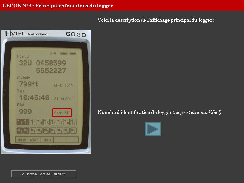 Voici la description de laffichage principal du logger : Numéro didentification du logger ( ne peut être modifié !) LECON N°2 : Principales fonctions