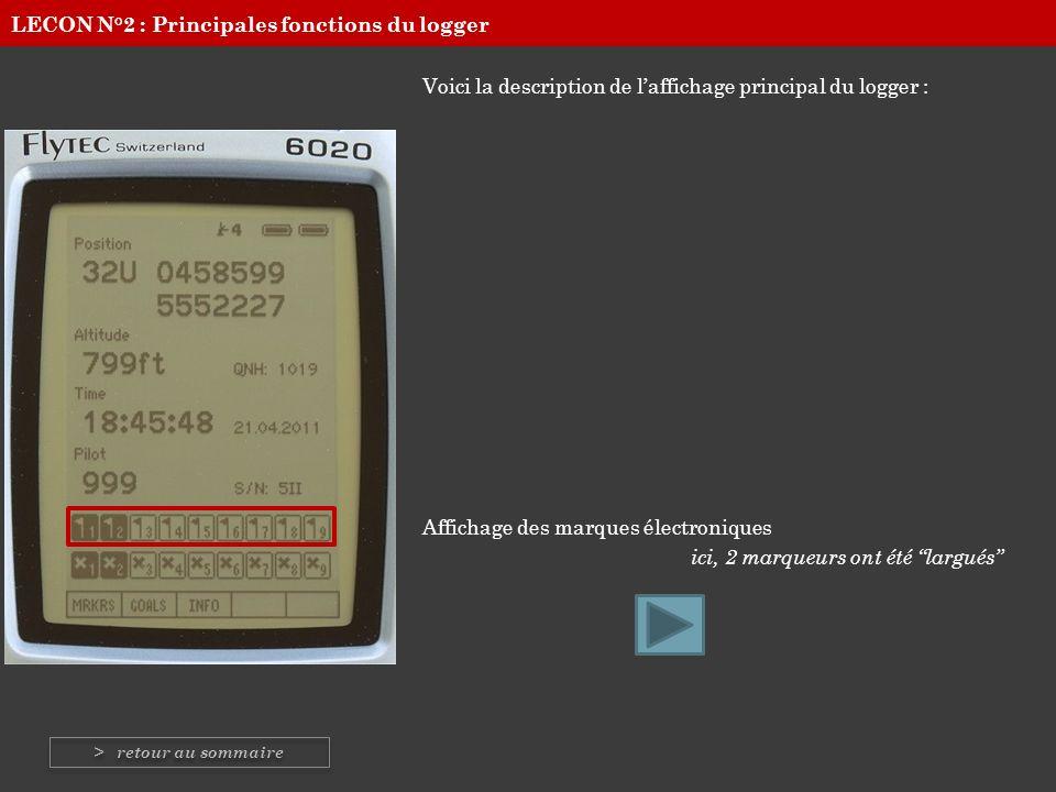 Voici la description de laffichage principal du logger : Affichage des marques électroniques ici, 2 marqueurs ont été largués LECON N°2 : Principales