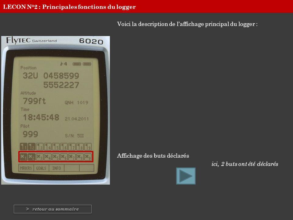 Voici la description de laffichage principal du logger : Affichage des menus Leur utilisation vous sera expliquée dans les pages suivantes… LECON N°2 : Principales fonctions du logger > retour au sommaire