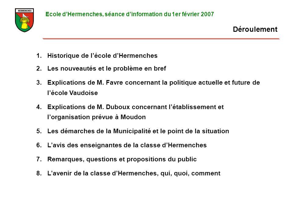 Déroulement Ecole dHermenches, séance dinformation du 1er février 2007 1.Historique de lécole dHermenches 2.Les nouveautés et le problème en bref 3.Explications de M.
