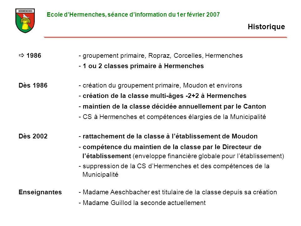 Historique Ecole dHermenches, séance dinformation du 1er février 2007 1986- groupement primaire, Ropraz, Corcelles, Hermenches - 1 ou 2 classes primaire à Hermenches Dès 1986- création du groupement primaire, Moudon et environs - création de la classe multi-âges -2+2 à Hermenches - maintien de la classe décidée annuellement par le Canton - CS à Hermenches et compétences élargies de la Municipalité Dès 2002- rattachement de la classe à létablissement de Moudon - compétence du maintien de la classe par le Directeur de létablissement (enveloppe financière globale pour létablissement) - suppression de la CS dHermenches et des compétences de la Municipalité Enseignantes- Madame Aeschbacher est titulaire de la classe depuis sa création - Madame Guillod la seconde actuellement