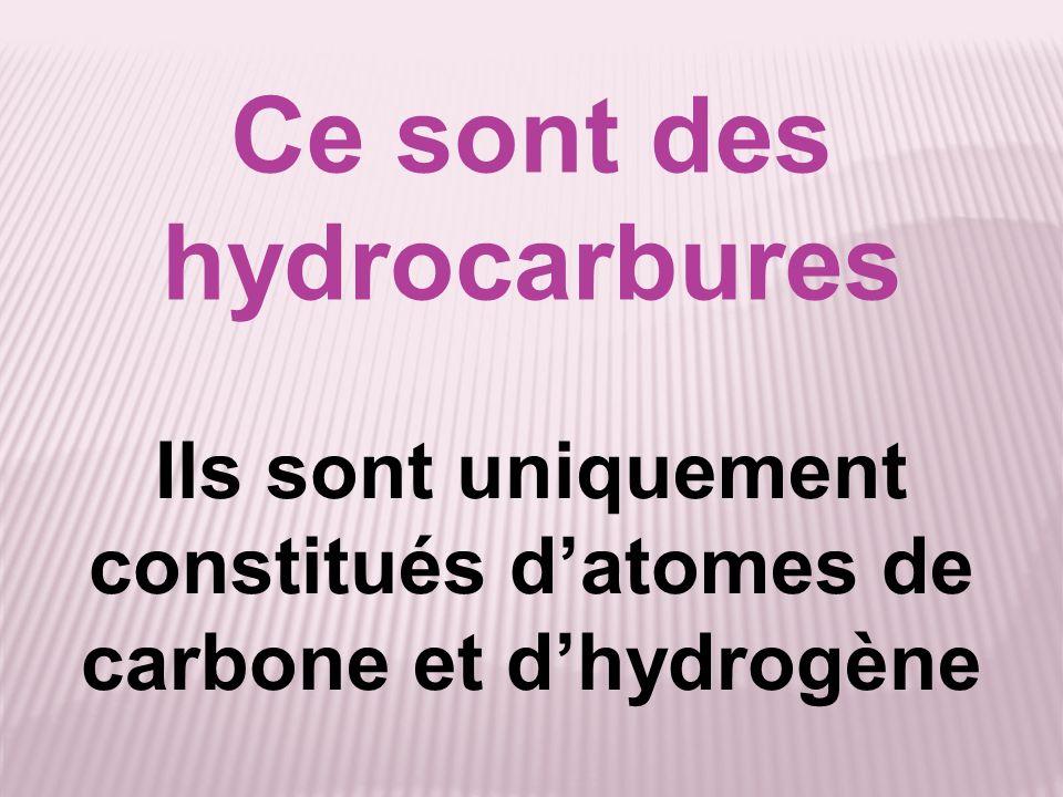 Ce sont des hydrocarbures Ils sont uniquement constitués datomes de carbone et dhydrogène