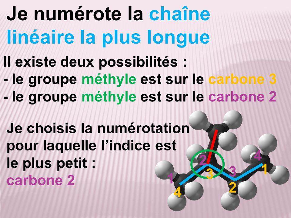 Je numérote la chaîne linéaire la plus longue Il existe deux possibilités : - le groupe méthyle est sur le carbone 3 - le groupe méthyle est sur le ca
