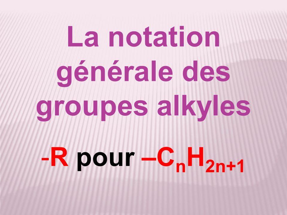 La notation générale des groupes alkyles -R pour –C n H 2n+1