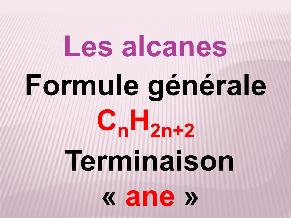 Les alcanes Formule générale C n H 2n+2 Terminaison « ane »