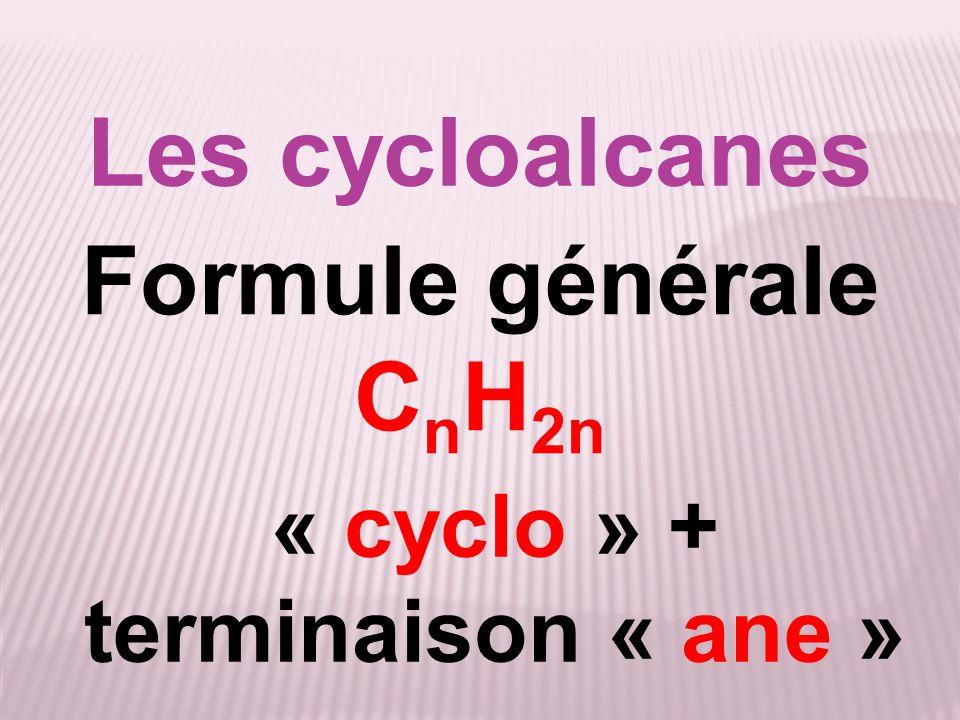 Les cycloalcanes Formule générale C n H 2n « cyclo » + terminaison « ane »