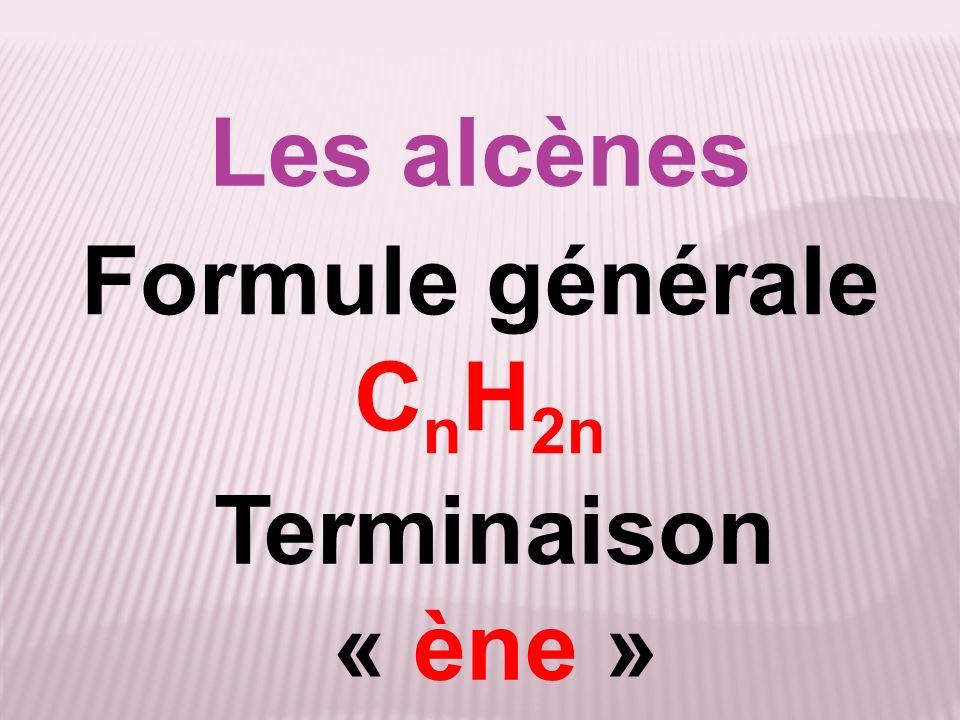 Les alcènes Formule générale C n H 2n Terminaison « ène »