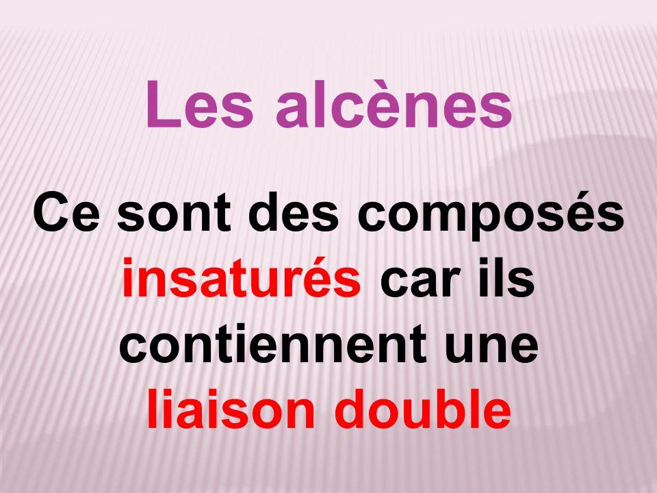 Les alcènes Ce sont des composés insaturés car ils contiennent une liaison double