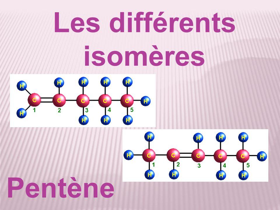 Les différents isomères Pentène
