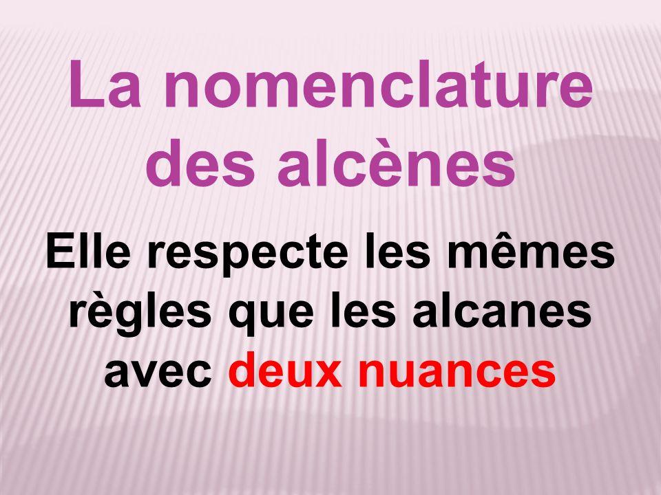 La nomenclature des alcènes Elle respecte les mêmes règles que les alcanes avec deux nuances