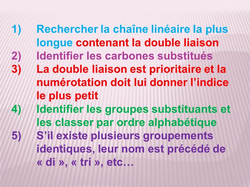 1)Rechercher la chaîne linéaire la plus longue contenant la double liaison 2)Identifier les carbones substitués 3)La double liaison est prioritaire et la numérotation doit lui donner lindice le plus petit 4)Identifier les groupes substituants et les classer par ordre alphabétique 5)Sil existe plusieurs groupements identiques, leur nom est précédé de « di », « tri », etc…