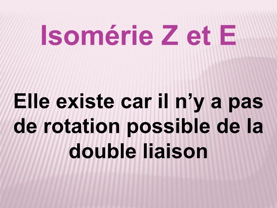 Isomérie Z et E Elle existe car il ny a pas de rotation possible de la double liaison