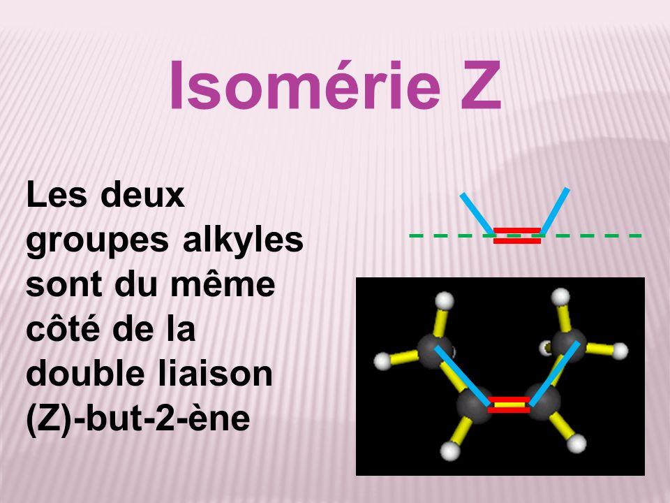 Isomérie Z Les deux groupes alkyles sont du même côté de la double liaison (Z)-but-2-ène