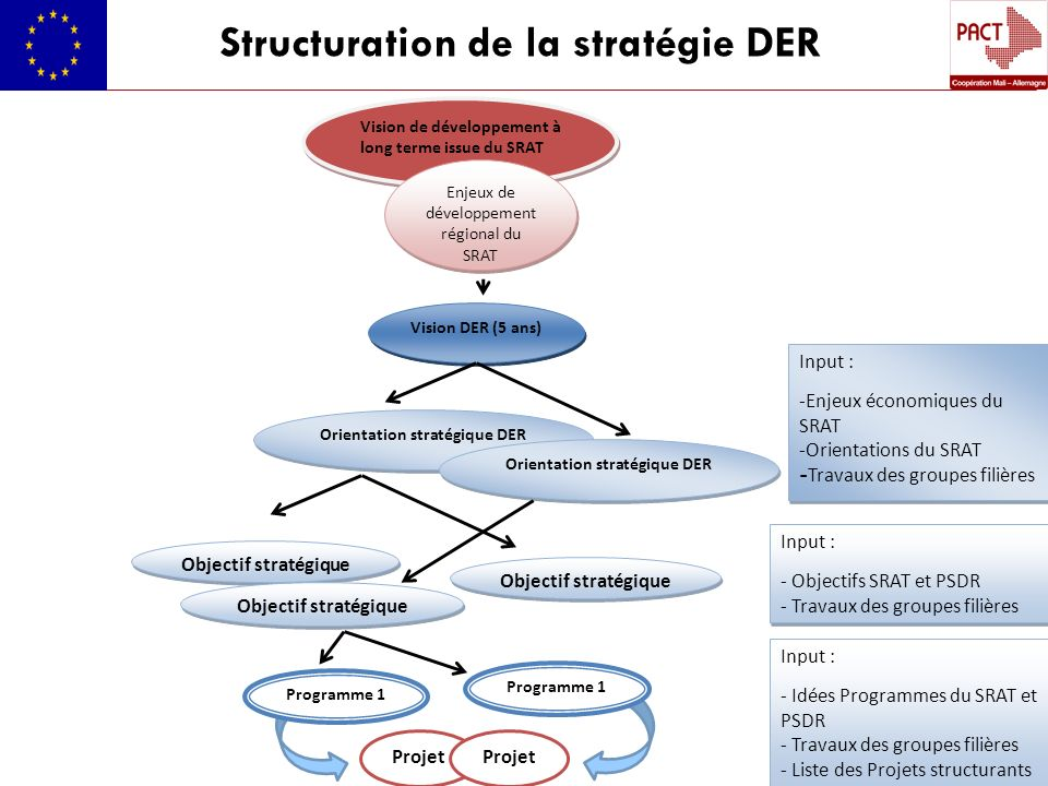 Structuration de la stratégie DER Vision de développement à long terme issue du SRAT Enjeux de développement régional du SRAT Vision DER (5 ans) Orien