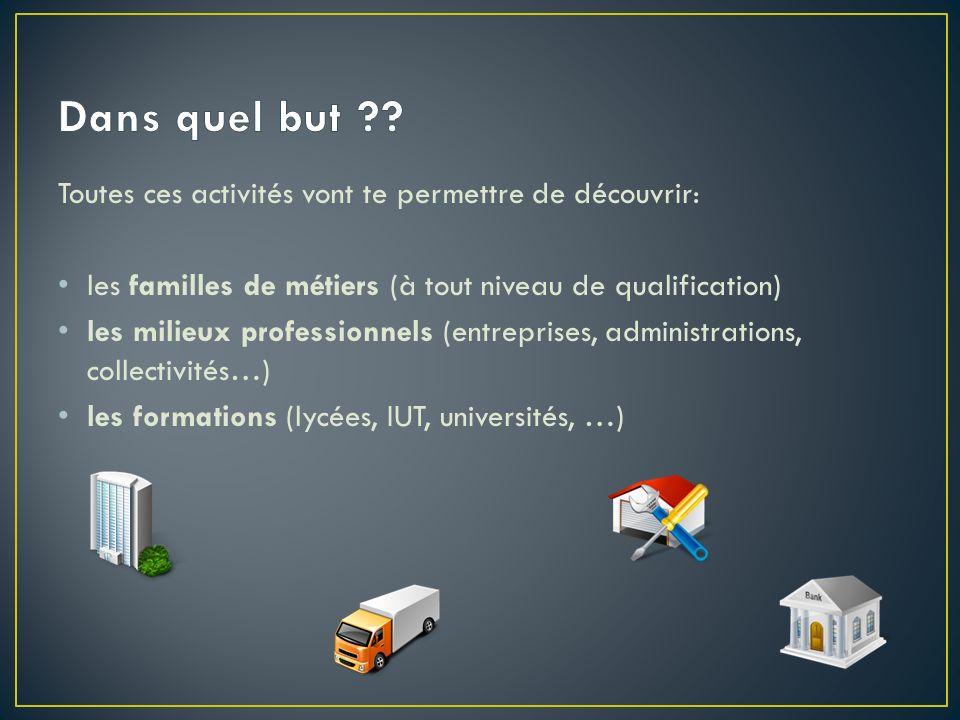 Toutes ces activités vont te permettre de découvrir: les familles de métiers (à tout niveau de qualification) les milieux professionnels (entreprises,