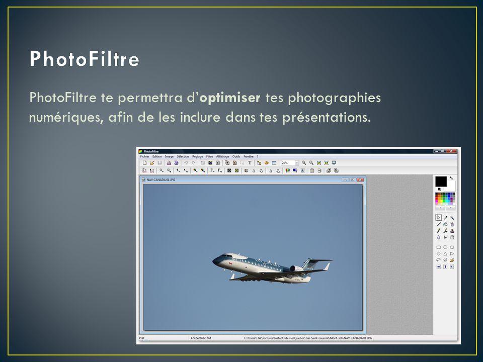 PhotoFiltre te permettra doptimiser tes photographies numériques, afin de les inclure dans tes présentations.