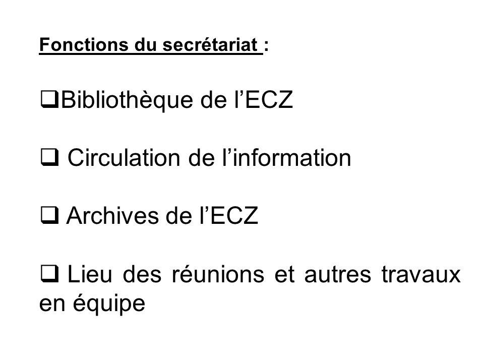 Fonctions du secrétariat : Bibliothèque de lECZ Circulation de linformation Archives de lECZ Lieu des réunions et autres travaux en équipe