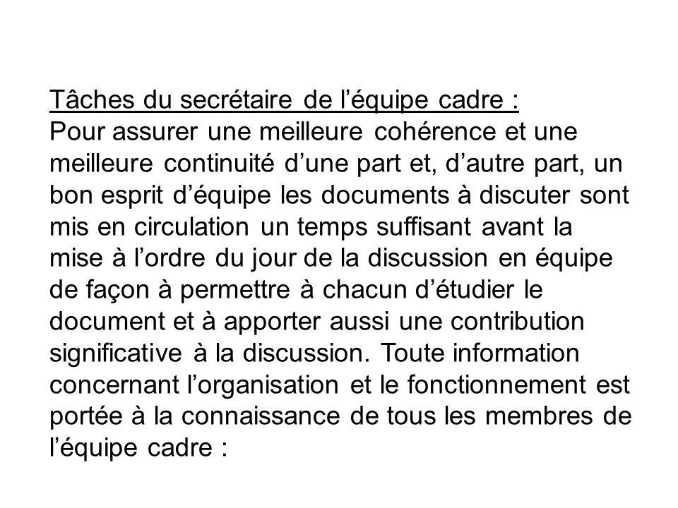 Tâches du secrétaire de léquipe cadre : Pour assurer une meilleure cohérence et une meilleure continuité dune part et, dautre part, un bon esprit déqu