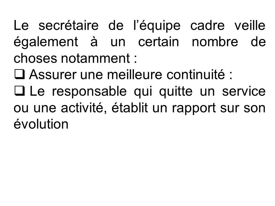 Le secrétaire de léquipe cadre veille également à un certain nombre de choses notamment : Assurer une meilleure continuité : Le responsable qui quitte