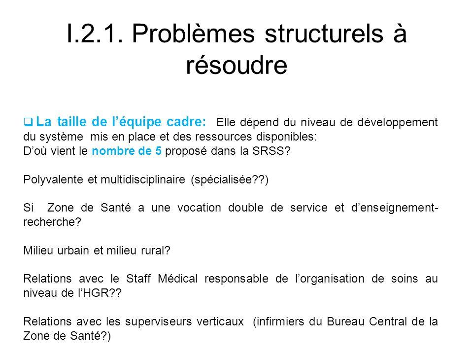 I.2.1. Problèmes structurels à résoudre La taille de léquipe cadre: Elle dépend du niveau de développement du système mis en place et des ressources d