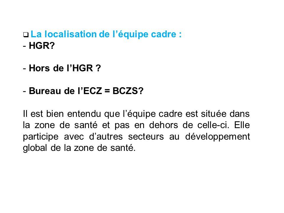 La localisation de léquipe cadre : - HGR? - Hors de lHGR ? - Bureau de lECZ = BCZS? Il est bien entendu que léquipe cadre est située dans la zone de s