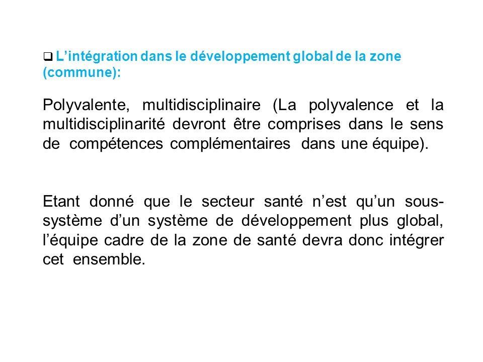 Lintégration dans le développement global de la zone (commune): Polyvalente, multidisciplinaire (La polyvalence et la multidisciplinarité devront être