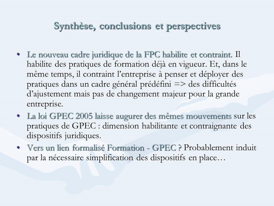 Synthèse, conclusions et perspectives Le nouveau cadre juridique de la FPC habilite et contraint.