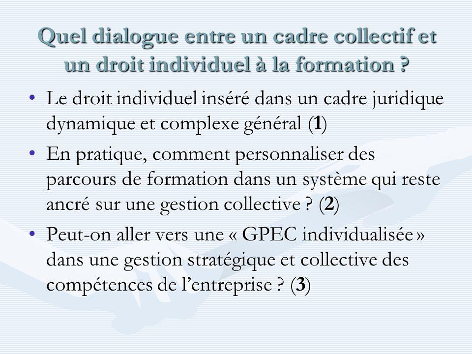 Quel dialogue entre un cadre collectif et un droit individuel à la formation .