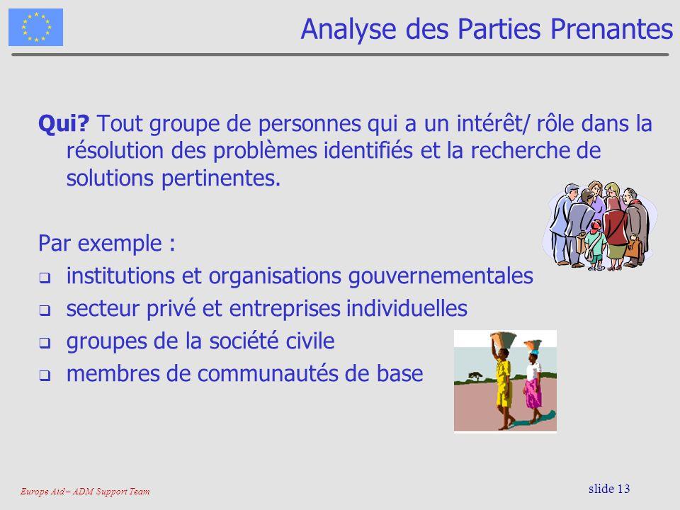 Europe Aid – ADM Support Team slide 13 Analyse des Parties Prenantes Qui? Tout groupe de personnes qui a un intérêt/ rôle dans la résolution des probl