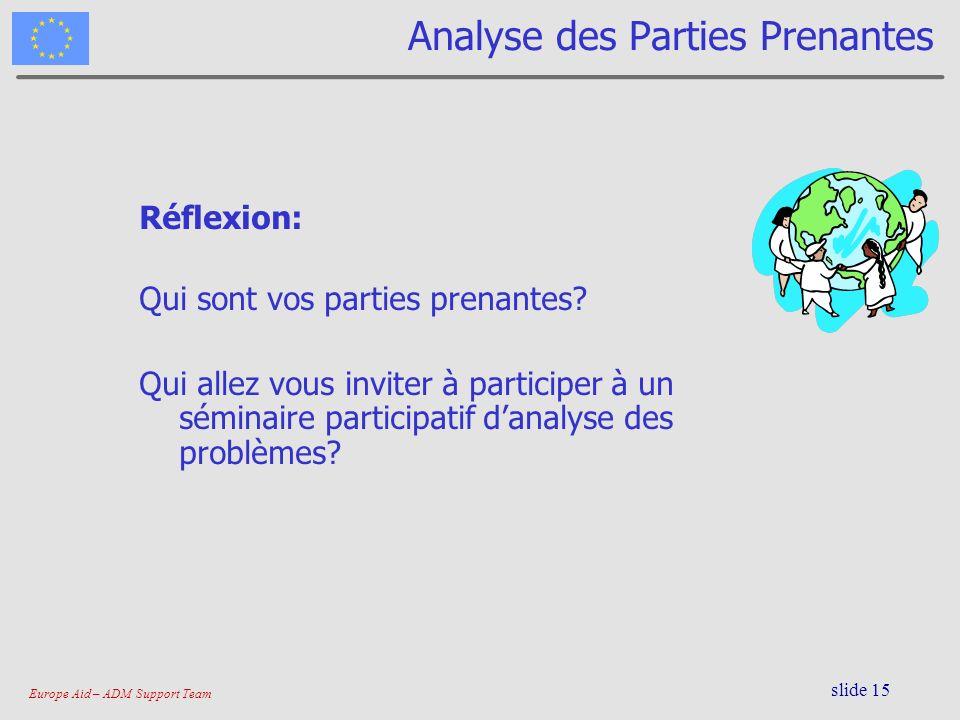 Europe Aid – ADM Support Team slide 15 Analyse des Parties Prenantes Réflexion: Qui sont vos parties prenantes? Qui allez vous inviter à participer à