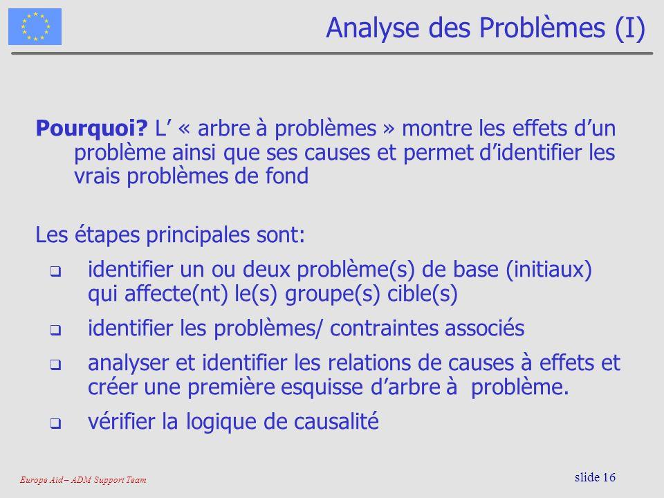 Europe Aid – ADM Support Team slide 16 Analyse des Problèmes (I) Pourquoi? L « arbre à problèmes » montre les effets dun problème ainsi que ses causes