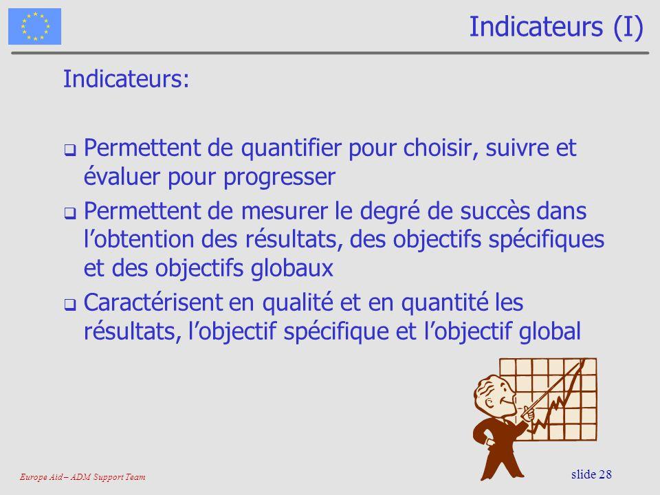 Europe Aid – ADM Support Team slide 28 Indicateurs (I) Indicateurs: Permettent de quantifier pour choisir, suivre et évaluer pour progresser Permetten