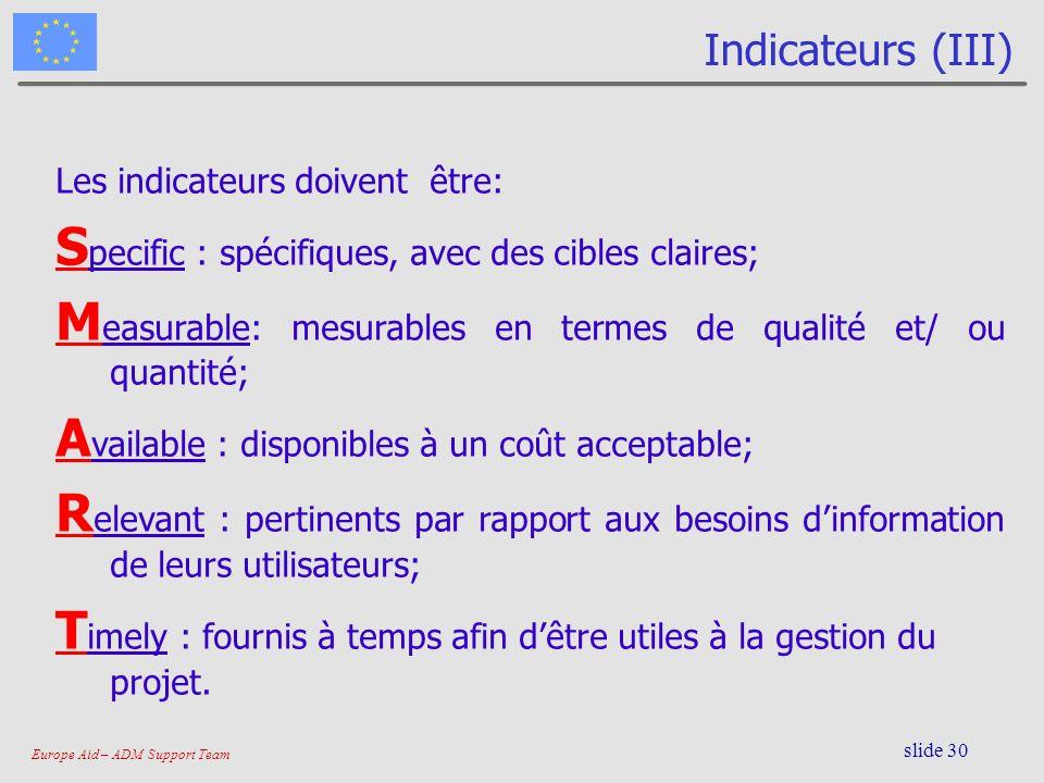 Europe Aid – ADM Support Team slide 30 Indicateurs (III) Les indicateurs doivent être: S pecific : spécifiques, avec des cibles claires; M easurable: