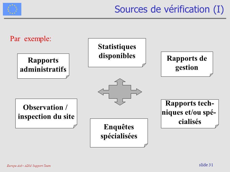Europe Aid – ADM Support Team slide 31 Sources de vérification (I) Rapports administratifs Rapports de gestion Rapports tech- niques et/ou spé- cialis