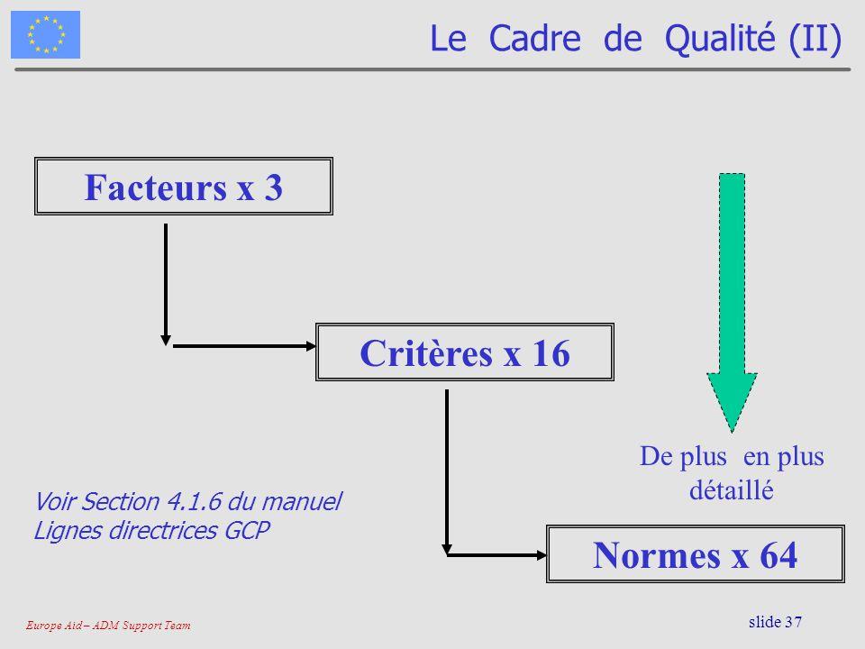 Europe Aid – ADM Support Team slide 37 Le Cadre de Qualité (II) Facteurs x 3 Critères x 16 Normes x 64 De plus en plus détaillé Voir Section 4.1.6 du