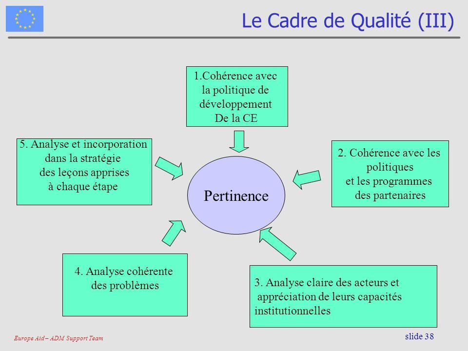 Europe Aid – ADM Support Team slide 38 Le Cadre de Qualité (III) Pertinence 1.Cohérence avec la politique de développement De la CE 2. Cohérence avec