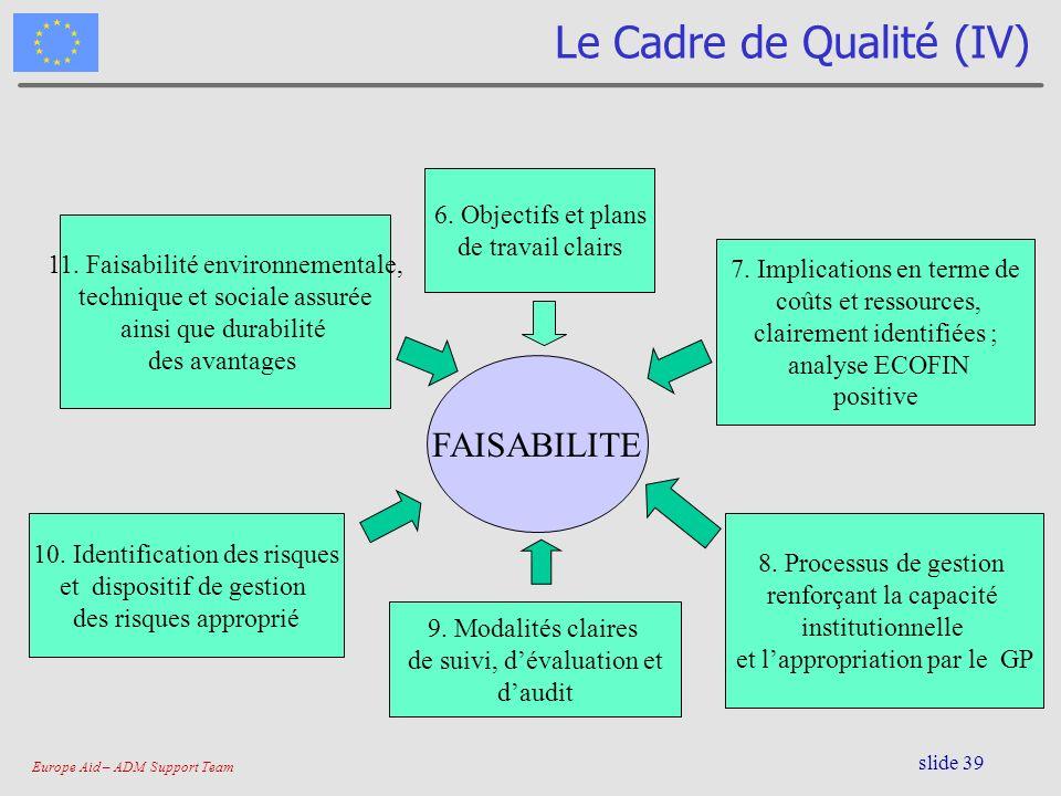 Europe Aid – ADM Support Team slide 39 Le Cadre de Qualité (IV) FAISABILITE 6. Objectifs et plans de travail clairs 7. Implications en terme de coûts