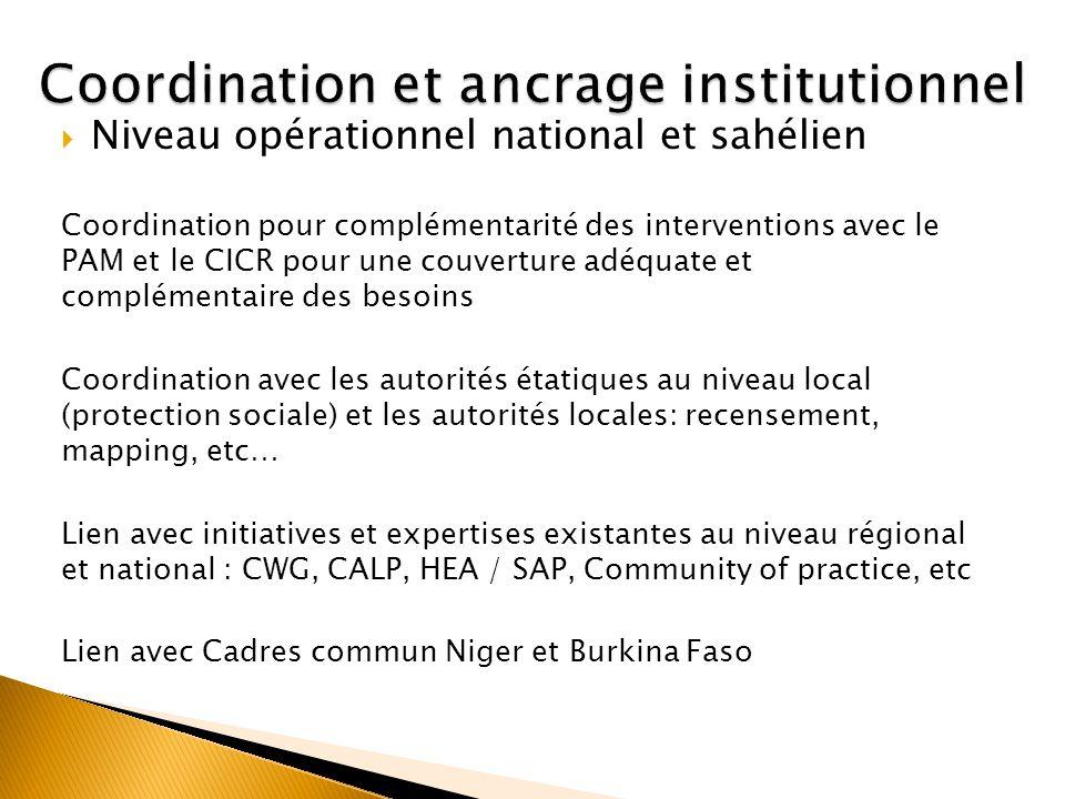Niveau opérationnel national et sahélien Coordination pour complémentarité des interventions avec le PAM et le CICR pour une couverture adéquate et co