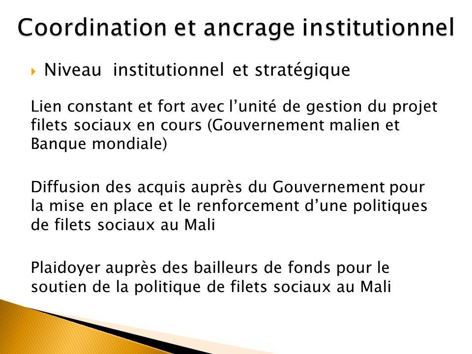 Niveau institutionnel et stratégique Lien constant et fort avec lunité de gestion du projet filets sociaux en cours (Gouvernement malien et Banque mon