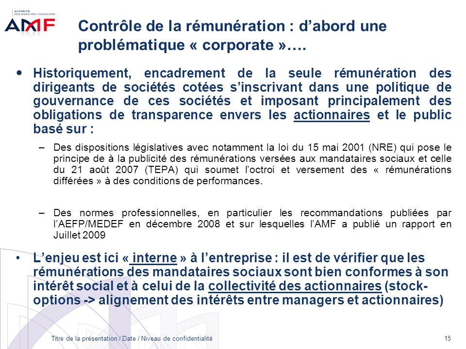 Titre de la présentation / Date / Niveau de confidentialité 15 Contrôle de la rémunération : dabord une problématique « corporate »…. Historiquement,