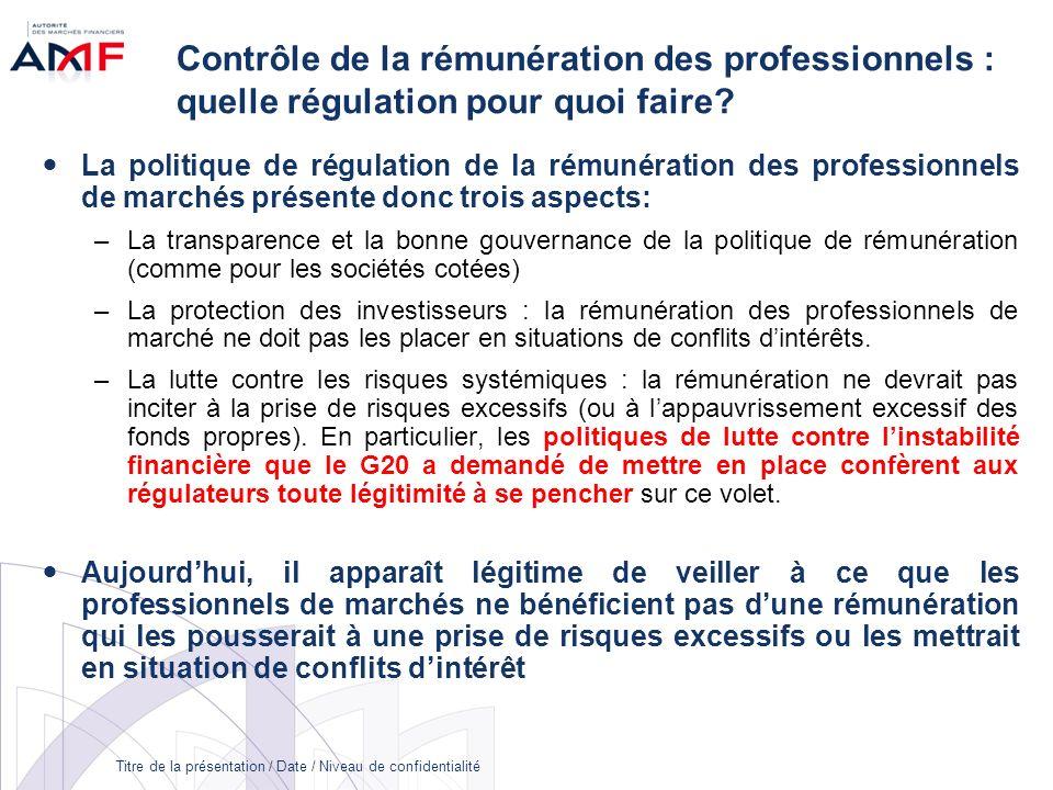 Titre de la présentation / Date / Niveau de confidentialité Contrôle de la rémunération des professionnels : quelle régulation pour quoi faire? La pol