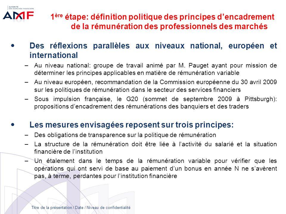Titre de la présentation / Date / Niveau de confidentialité 1 ère étape: définition politique des principes dencadrement de la rémunération des profes